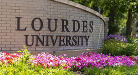Image of Lourdes University sign on campus