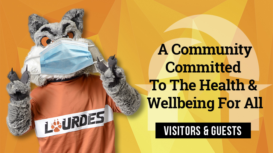 Image of Gui wearing a mask with text about Lourdes COVID-19 News for Visitors & Families