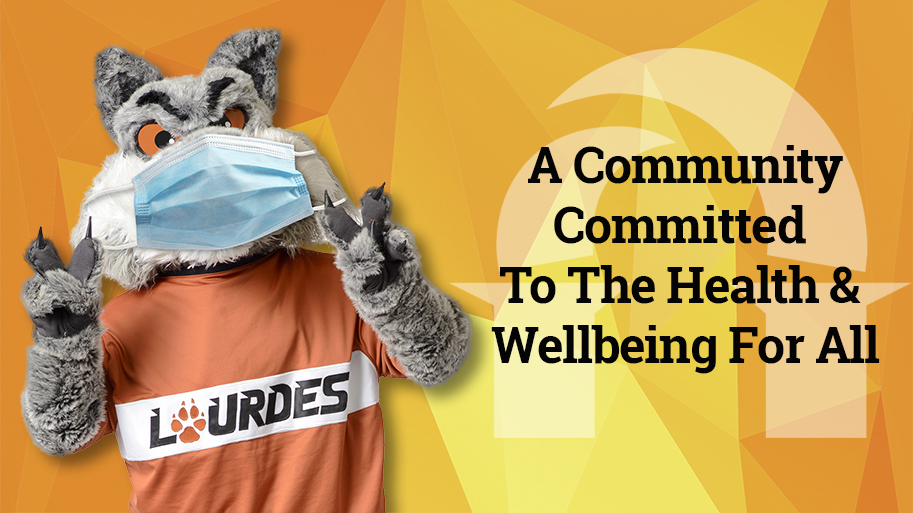 "Image of Gubi wearing a face covering with the text ""A Community Committed To The Health and Wellbeing For All"""