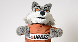 Image of Lourdes mascot - Gubi the Gray Wolf