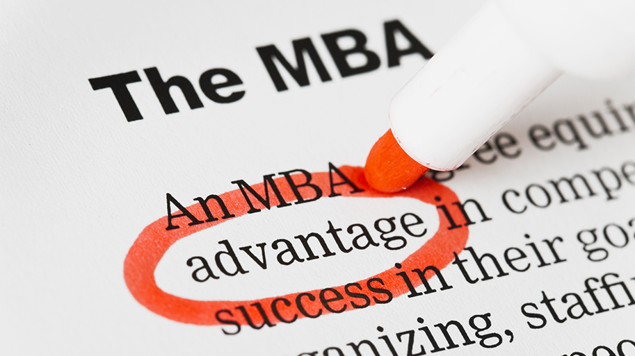 """An exerpt from a printed article with the headline """"The MBA."""" Text below shows an article with the word """"advantage"""" circled in red with a marker"""
