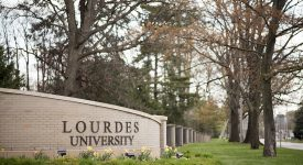 Photo of main entrance on the Lourdes University campus