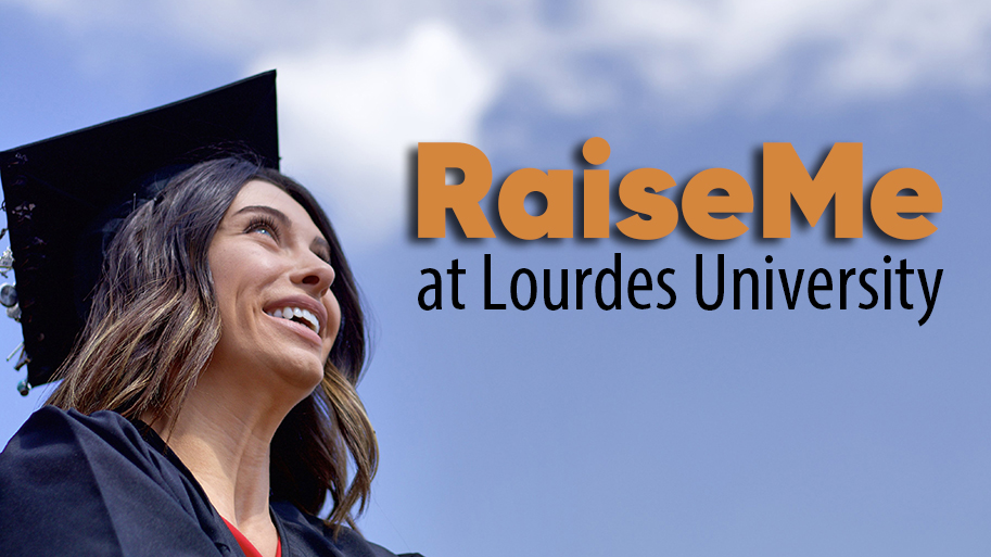 Photo of Lourdes University graduate with cap and gown looking up into the sky