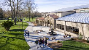 Aerial image looking at students walking past Rec Center