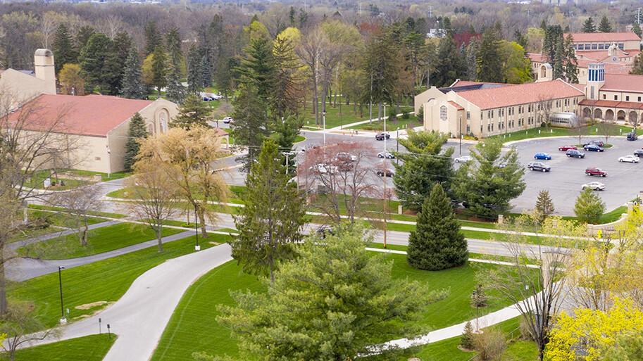 Aerial image of Lourdes University Campus