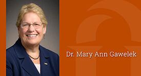 Image of Lourdes President and name Dr. Mary Ann Gawelek