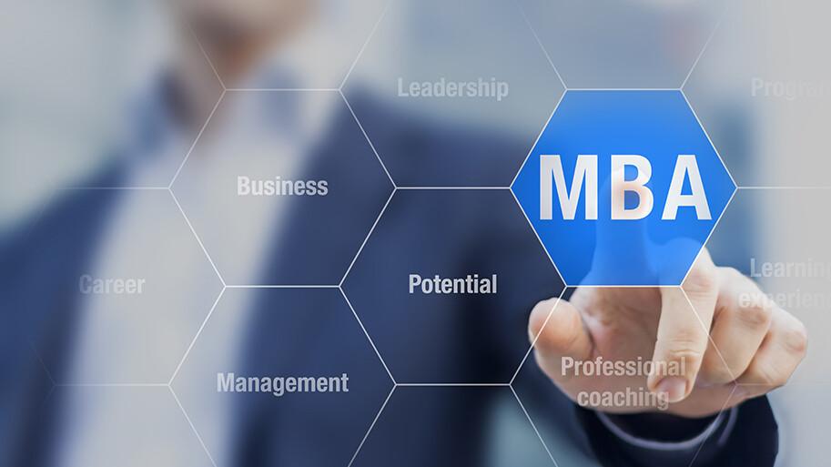Individual choosing MBA on an interactive screen