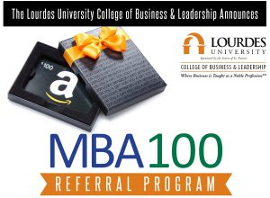 Image of Amazon gift box and card with MBA100 Referral Program logo