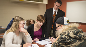 Professor working with Education students