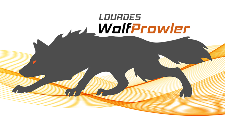 WolfProwler Logo image of wolf and the Lourdes Lourdes WolfProwler