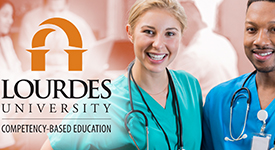 RN to BSN CBE Info Packet image of two RNS with Lourdes CBE logo