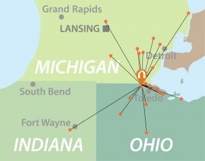 Map of US Midwest showing where Lourdes Nurse Anesthesia graduates are employed