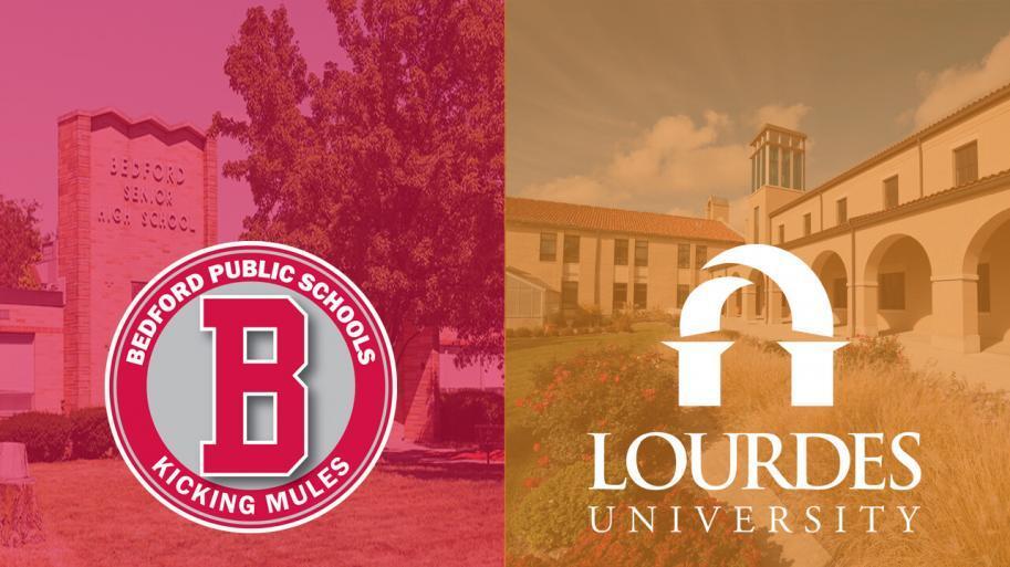 Bedford High School Lourdes University logos
