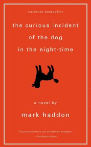 Image of book cover - The Curious Incident of the Dog in the Night-Time with the dog pictured upside down
