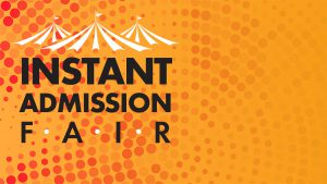 Instant Admission Fair text with big top tent image above letters