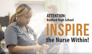 Image of nursing student working in the lab with the words: Inspire The Nurse Within