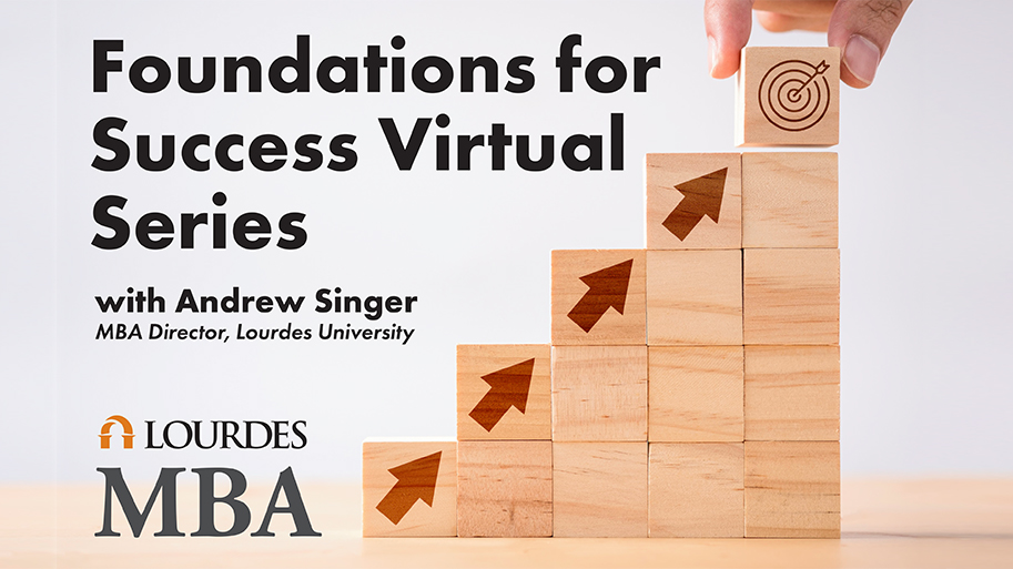Image of stair steps with arrows pointing up with the words Foundations For Success Virtual Series