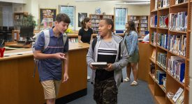 Photo of Middle Schoolers In Junior High Library